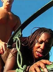 Shameless black girl Sheeba experiences outdoor fucking with her horny white stud live