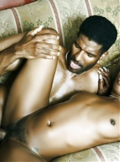 Horny black chick Ariel Alexus blowjobs a big schlong and got her ebony pussy intensely screwed live