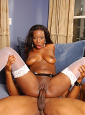 Buxom black hottie Lady Armani spreading her stocking wrapped thighs for a cock live